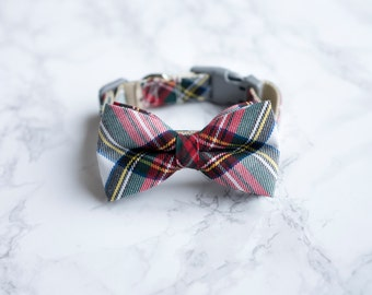 Bow Tie Collar | White Tartan | Dog & Cat