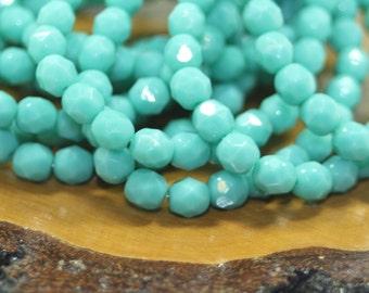 Czech Glass Beads, 6mm Firepolish, Turquoise Blue, 25 Beads