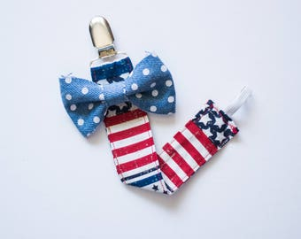 American Pacifier Clip, Pacifier Clip, Pacifier Holder, Binky Holder, Binky Clip, Patriotic Pacifier Clip, Fourth of July Clip, 4th of July