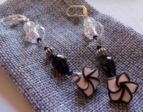 Long black white polymer clay flower earrings, teardrop black crystal jewelry, avant garde , classic design, iridescent spacer, gift it