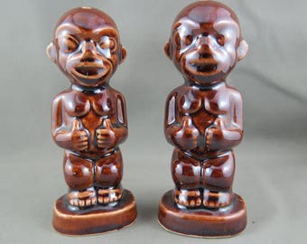 Vintage Kon Tiki Salt and Pepper Shakers - Tiki Baby with Thumbs Up - By Soraine