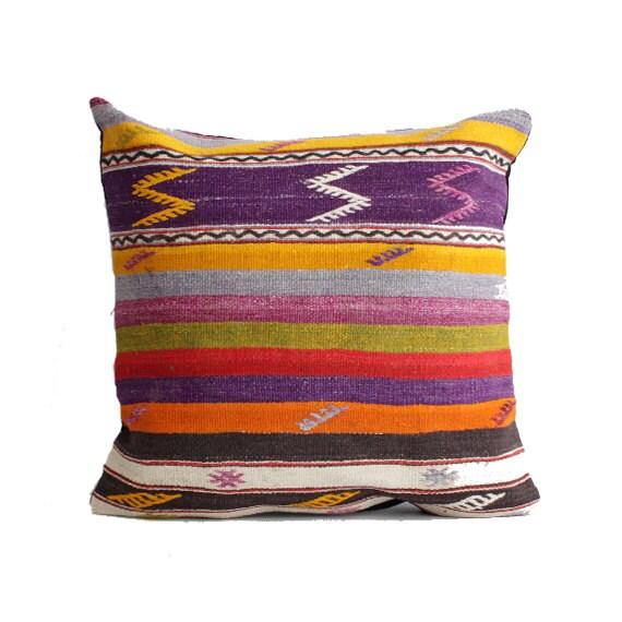 Over Size Pastel Kilim Pillow 24 X 24 Turkish Pillow Modern