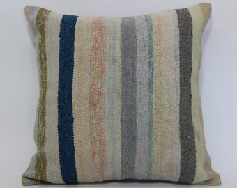 24x24 Turkish Striped Kilim Pillow Home Decor Cushion Cover 24x24 Anatolian Kilim Pillow Room Decor Cushion Cover SP6060-860