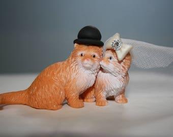 Cat Cake Topper - Kitten Cake Topper - Animal Cake Topper - Cute - Adorable - Country Wedding Decor - Personalized - Custom Cake Topper