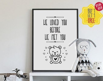 Pregnancy announcement poster, nursery wall art, baby prints, bear print, love art print, new parents, baby room decor, nursery prints girl