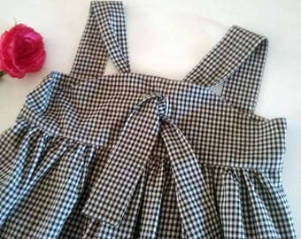 Girls Size 4 Black & White Gingham Sun Dress