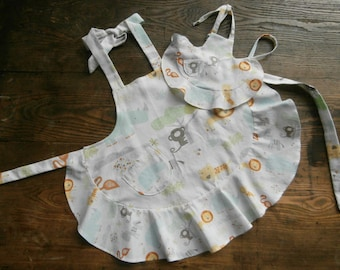 Wild Savannah adult,youth and dolly apron set