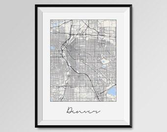 DENVER Map Print, Modern City Poster, Black and White Minimal Wall Art for the Home Decor