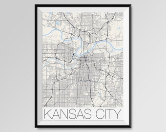 KANSAS CITY Map Print, Modern City Poster, Black and White Minimal Wall Art for the Home Decor