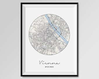 VIENNA Map Print, Modern City Poster, Black and White Minimal Wall Art for the Home Decor