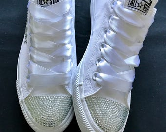 Wedding customised converse, crystals, personalised, made to order
