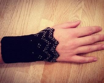 Beautiful hand knitted wrist warmers w glass beads. Super soft Merino wool