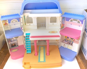 RARE Vintage Fisher Price Grand Dollhouse Loving Family Doll House Playset  Set Large Retro Original 90s