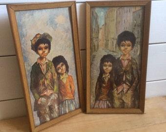 """Pair of 1960s Kitsch Big Eyed Urchin Children Framed Prints 12.5"""" x 6.5"""""""