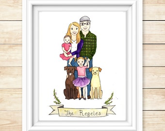 Custom Family Illustration Family Portrait Watercolor Personalized Couple Portrait Wedding Gift Engagement Gift Family Portrait Watercolor