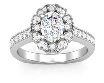 White Gold Engagement Ring Oval Halo Ring 14K Milgrain Vintage Ring For Her Semi Mount Colorless Forever One Moissanite Halo Ring For Her