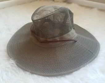 RESERVED Duluth Trading Co. Hat / Vintage Brimmed Hat / Green Brimmed Hat / Vintage Gardening Hat / Mesh Brimmed Hat / Vintage Sun Hat