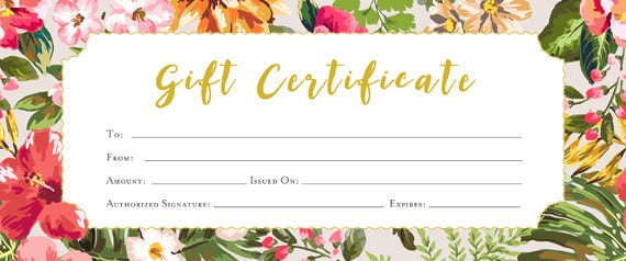 Blank gift certificate floral flowers tropical gift for Gardening gift vouchers
