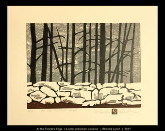 At the Forest's Edge, original hand pulled reduction woodcut by Rhonda Lynch