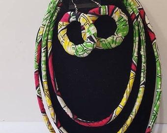 Ankara necklace earrings and bangle