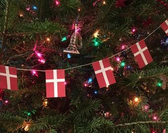 Denmark Flag Garland- Christmas Decoration- Paper - 7 feet - Danish
