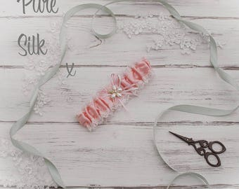 Pink Pure Silk Satin Wedding Garter With flower beautifully hand made in England! 50% OFF