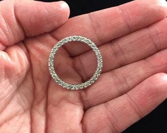 10K White Gold Diamond Round Pendant