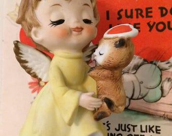 Vintage February Cherub Angel with Kitten/Cat