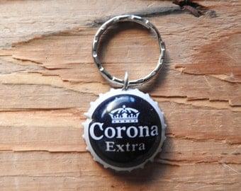 Corona Mexican beer bottle cap key chain - Handmade by Charlie