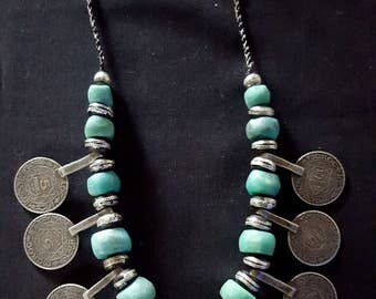 Morocco - Beautiful Berber necklace with amazonite stone, wood and coins in pendants