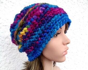 Crochet hat, beanie, chunky wool hat, merino and silk hat, winter hat, handspun hat, blue beanie, blue hat, merino wool hat, 20 inch,22 inch
