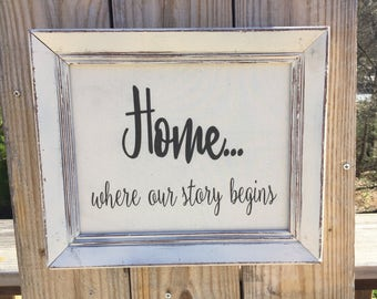 Home where our story begins,framed canvas quote,gallery wall art,inspirational saying,family room decor,vintage,family quote,home sign