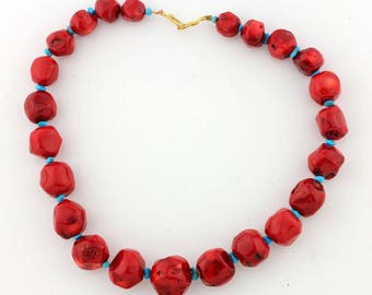 Red Bamboo Coral with Turquoise Necklace KC4651