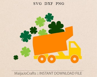 St Patricks day svg St. Patrick's Day SVG four leaf clovers svg Truck svg DXF files for Silhouette Cricut downloads Cricut files wedding svg