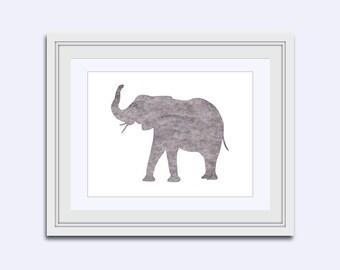 elephant art - Gray Elephant print - Printable kids gift - safari wall art - Elephant watercolor printable - Safari Wall Art - Nursery Decor
