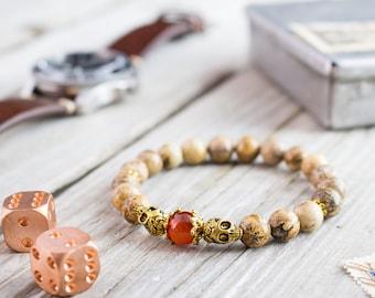 8mm - Brown jasper stone beaded stretchy bracelet with gold skulls and orange agate, yoga bracelet, mens bracelet, womens bracelet