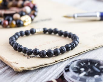 6mm - Black lava stone beaded stretchy bracelet, lava bracelet, made to order yoga bracelet, mens bracelet, womens bracelet