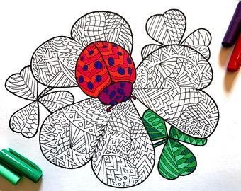 Ladybug on Clover - PDF Zentangle Coloring Page