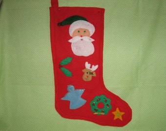 Red Decorated Christmas Stocking