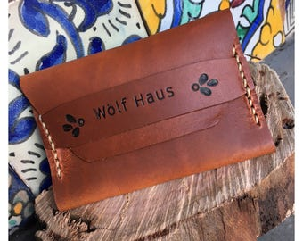 Custom small bohemian handstitched leather card wallet