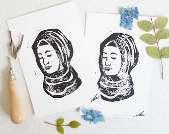 Lino print Hijab