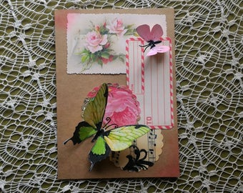 Handmade Greeting Card: Green Butterfly-wedding,engagement,mother's day,friend,sister,wife,feminine,special occasion,butterflies,dimensional