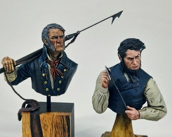 Whaler's Pack. The Old Whaler + Ahab, 1/10 scale busts. Resin sculpture, whale, whaler, gregory peck, resin bust