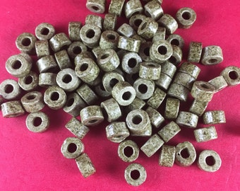 100 Mykonos beads, ceramic mini tubes, 4x6 mm ceramic tubes, fucsia mini tubes, pink mini tubes (c147428)