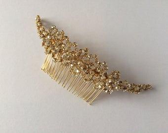 Gold Crystal Bridal Hair Comb