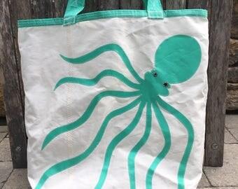Teal Octopus - Recycled Sail Bag - Beach Getaway (Large)