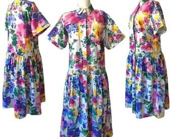 80s Floral Dropwaist Shirtdress