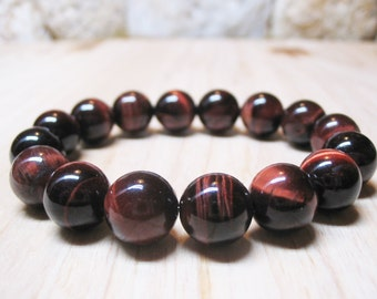 Red Tiger Eye Bracelet Gemstone Bracelet Mens Bracelet Unisex Bracelet Red Gemstone Root Chakra Bracelet Power Bracelet 10mm Red Tiger Eye