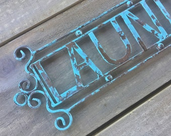 Cast Iron Distressed Vintage Laundry Sign