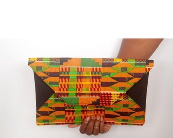 Authentic Kente Cloth Clutch Bag-African Fabric-Ankara Clutch-African Print Purse-Wax African Fabric-Dashiki Clutch-Orange, Brown, and Green